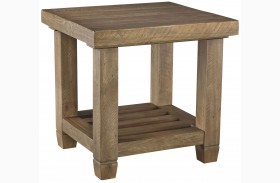 Trishley Weathered Gray Rectangular End Table