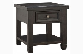 Townser Grayish Brown Rectangular End Table