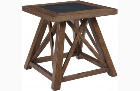 Campfield Brown Square End Table