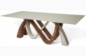 Trance White and Brown Rectangular Dining Table