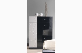 Turin Light Grey and Black Lacquer Chest