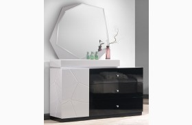 Turin Light Grey and Black Lacquer Dresser & Mirror