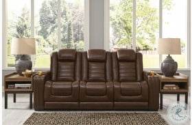 Backtrack Chocolate Power Reclining Sofa With Power Headrest