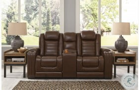 Backtrack Chocolate Power Reclining Console Loveseat With Power Headrest