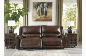 Catanzaro Mahogany Leather 2 Seat Power Reclining Sofa with Adjustable Headrest