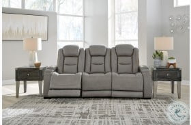 The Man Den Gray Leather Power Reclining Sofa with Adjustable Headrest