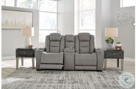 The Man Den Gray Leather Power Reclining Console Loveseat with Adjustable Headrest