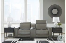 Correze Gray Leather Power Reclining Console Loveseat