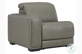 Correze Gray Leather LAF Power Recliner