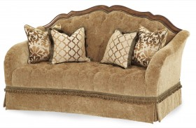 Villa Valencia Wood Trim Tufted Loveseat