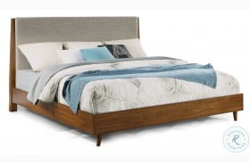 Ludwig Brown Upholstered Panel Bed