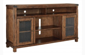 Tamonie Rustic Brown Extra Large TV Stand With Fireplace Option