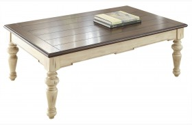 Wesley Antique White and Walnut Cocktail Table