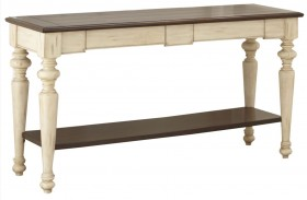 Wesley Antique White and Walnut Sofa Table