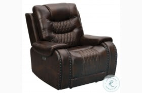 A889U-005-1749 Brown Leather Power Recliner