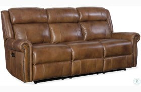 Tremendous Esme Carmel Leather Power Reclining Living Room Set With Theyellowbook Wood Chair Design Ideas Theyellowbookinfo