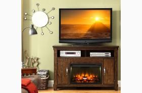 Restoration Rustic Walnut Fireplace Console