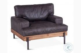 Chiavari Distressed Antique Ebony Leather Arm Chair