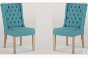 Chloe Teal Linen Tufted Dining Chair Set of 2