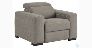 Mabton Gray Power Recliner with Adjustable Headrest