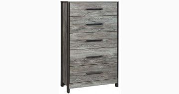 Cazenfeld Black and Gray Five Drawer Chest