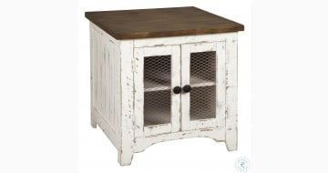 Wystfield White and Brown Rectangular End Table