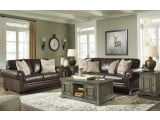 Roleson Walnut Leather Living Room Set