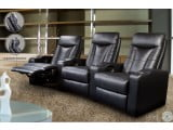 Pavillion Black Leather Home Theater Seating