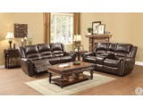 Center Hill Brown Double Glider Reclining Loveseat With Console