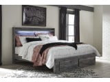 Baystorm Gray King Panel Bed with Single Underbed Storage
