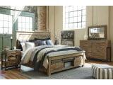 Sommerford Brown Storage 4 Piece Panel Bedroom Set