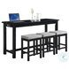 Connected Black 4 Piece Pack Counter Height Set