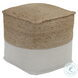 Sweed Valley Natural and White Square Pouf
