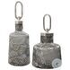 Storm Charcoal Taupe And Silver Wall Art Glass Bottles Set Of 2