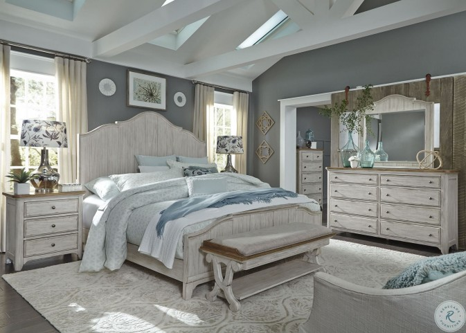 Farmhouse Reimagined Antique White Queen Panel Bed from ...