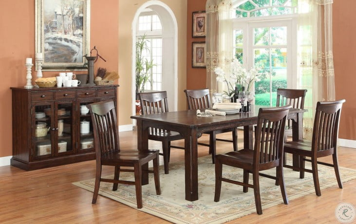 Gettysburg Distressed Dark Oak Leg Dining Room Set From Eci Furniture Homegallerystore Com 1475 05 T