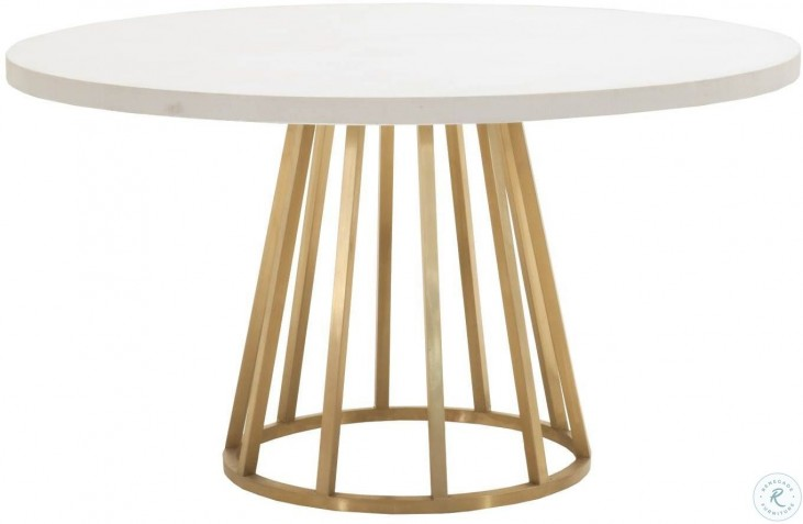Bella Antique White And Brushed Gold Annex 54 Round Dining Table From Orient Express Homegallerystore Com 8042 Bgstl Base 8042 Wcon Top