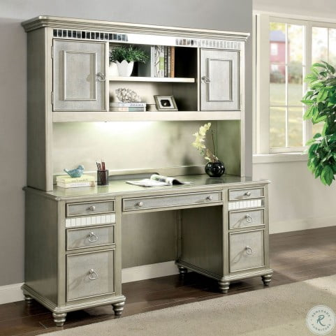Aine Silver Computer Desk With Hutch From Furniture Of America Homegallerystore Com Cm Dk908db Pk H
