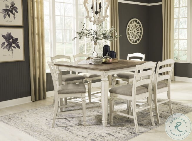 Realyn Two Tone Extendable Counter Height Dining Room Set From Ashley Homegallerystore Com