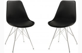 Lowry Black Finish Side Chair Set of 2