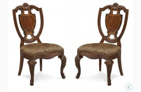 Old World Shield Back Side Chair with Fabric Seat Set of 2