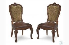 Old World Upholstered Back Side Chair Set of 2