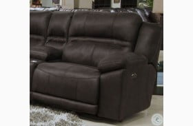 Braxton Dark Chocolate Lay Flat Power RAF Recliner