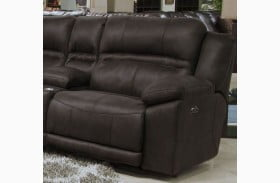 Braxton Dark Chocolate Finish Lay Flat Power RAF Recliner