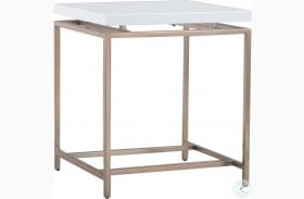 Epicenters Gloss White Goldman End Table