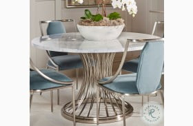 La Scala Nickel Round Pedestal Dining Table