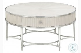 La Scala Ivory And Nickel Round Cocktail Table