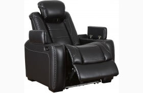 Party Time Midnight Power Recliner with Adjustable Headrest