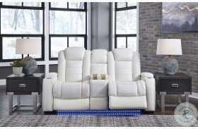 Party Time White Power Reclining Console Loveseat With Power Headrest
