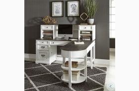 Allyson Park Wirebrushed White L Shaped Desk
